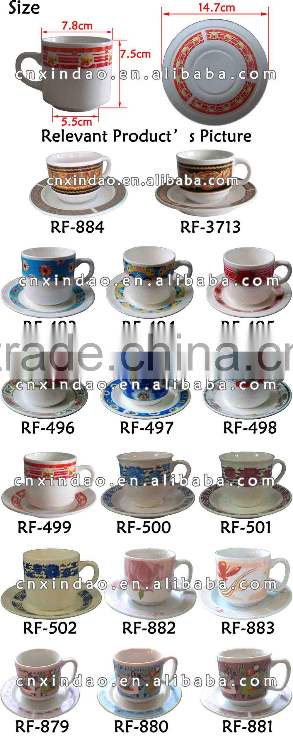 Hot Sale Personalized Ceramic White Coffee Cups Saucers with Good Qualuty & Fanny Design for Promotion