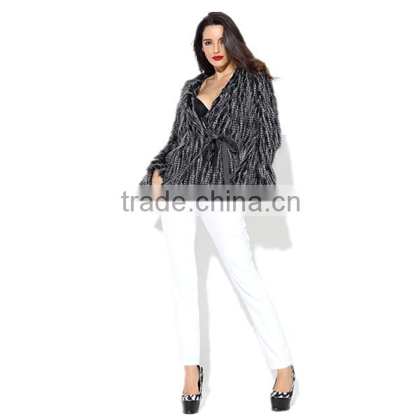 PRETTY STEPS 2015 Dry Clean only sexy black Women's Short Fur Long Sleeve fur short shaggy coat