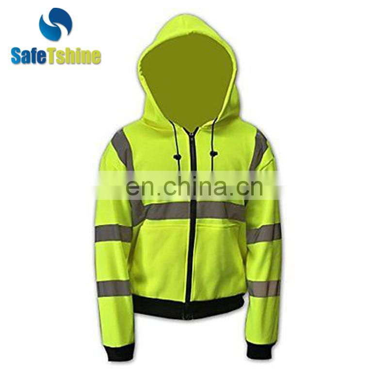 New simple hooded fluorescent strip sweatershirt