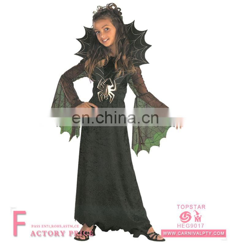 carnival black Black Widow Spider Witch Vampire Halloween Costume Dresses for Children girls