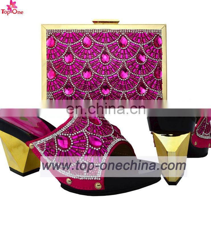 2016 Fushia lady shoes and bags / italian shoes with matching bags/Fashion design party dressing shoes and bags
