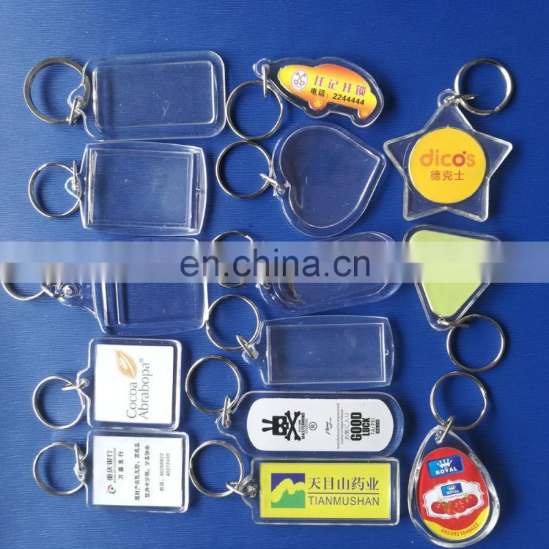 custom printed acrylic keychain with paper printed photo inserted