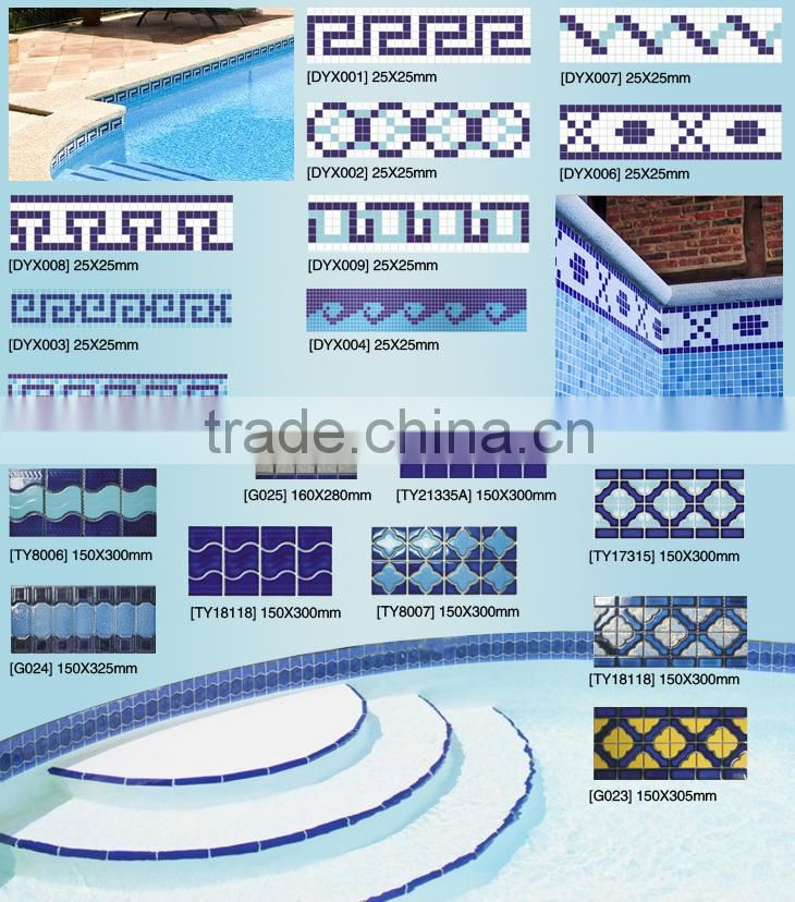 Tile for swimming pool blue decorative waterline border of ...