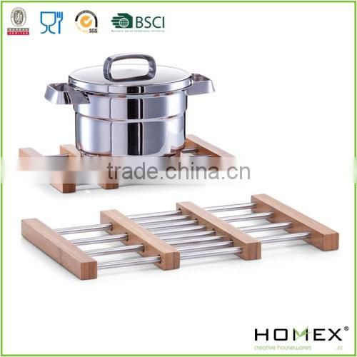 Expandable Bamboo Trivet Coaster with Metal/Homex_FSC/BSCI Factory