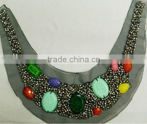 Square beads motifs dress neckline lace trims
