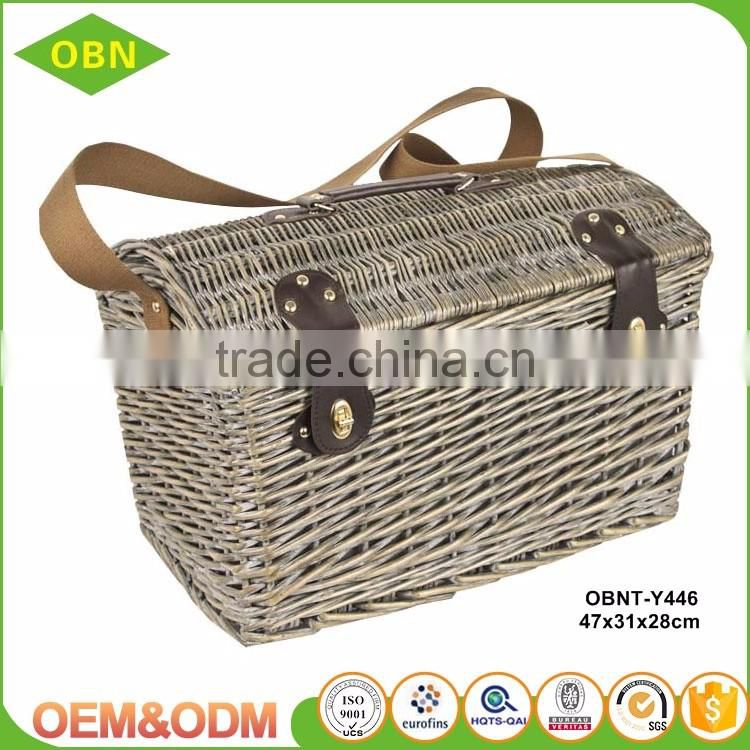 Custom China manufacture export nice quality empty handmade cheap large wicker picnic basket