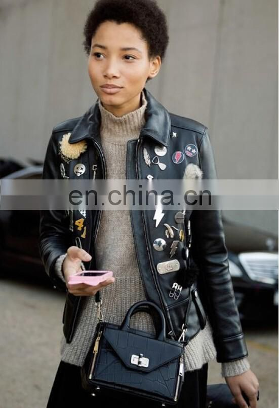 Winter Faux Leather Jacket Bolero Imitation Leather Jacket bomerJacket Blazer with decoration patches decoration pins