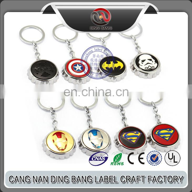 Promotional Fashional Gift Captain America Iron Man Superman Batman Relief Logo Metal Hero Series Bottle Opener Keychain