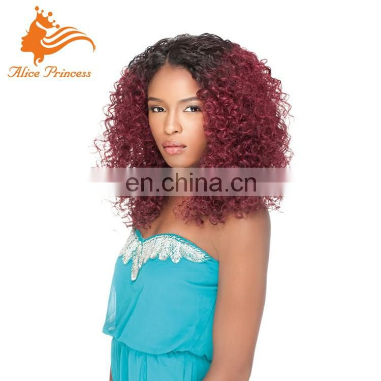 "18"" Good Remy Human Hair Glueless Brazilian Silk Top Full Lace WIgs Kinky Curly"
