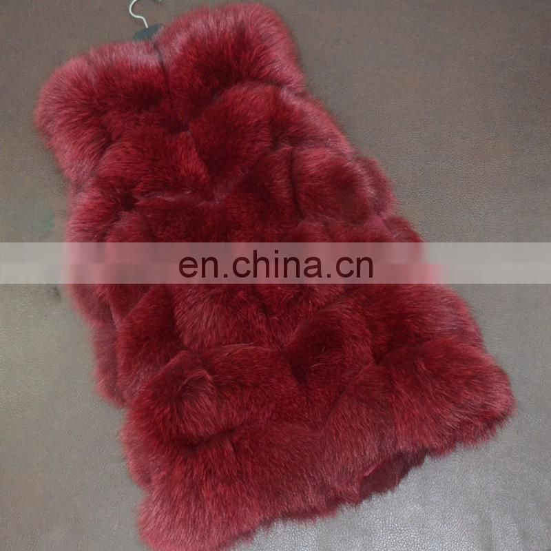 Newest pattern top grade fox fur vest/gilet lady winter fur waistcoat