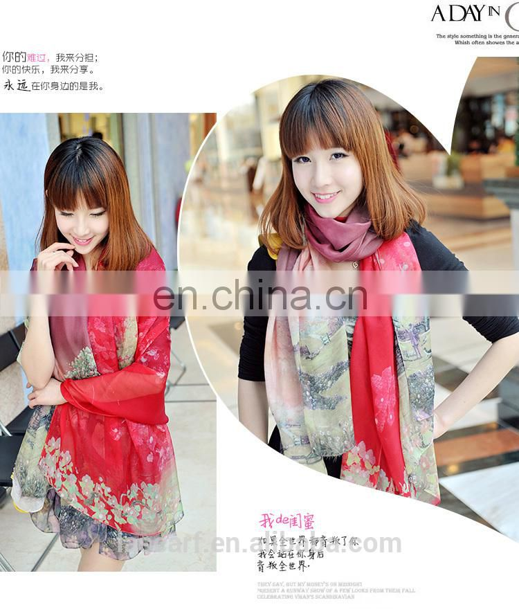 2015spring new style high quality silk crepe suzette stole(SP2261-5)