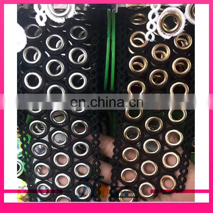 New popular high quality polyester eyelash lace trimming with grommet