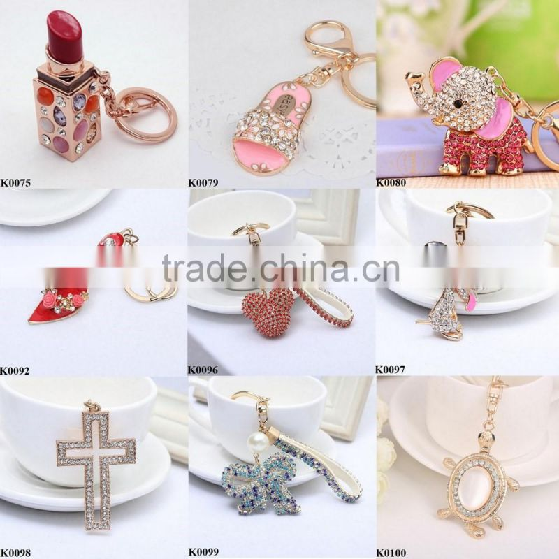 Mix color flower wholesale key chain holder purse hanging key chain metal alloy keychain keyring jewelry K0082