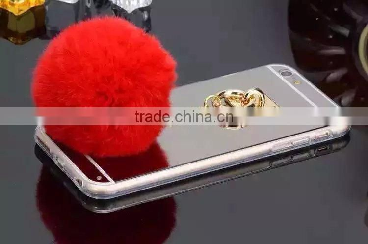 Luxury mirror Fur hair ball soft Cover Case For Apple iPhone 6 4.7'' plus 5.5''