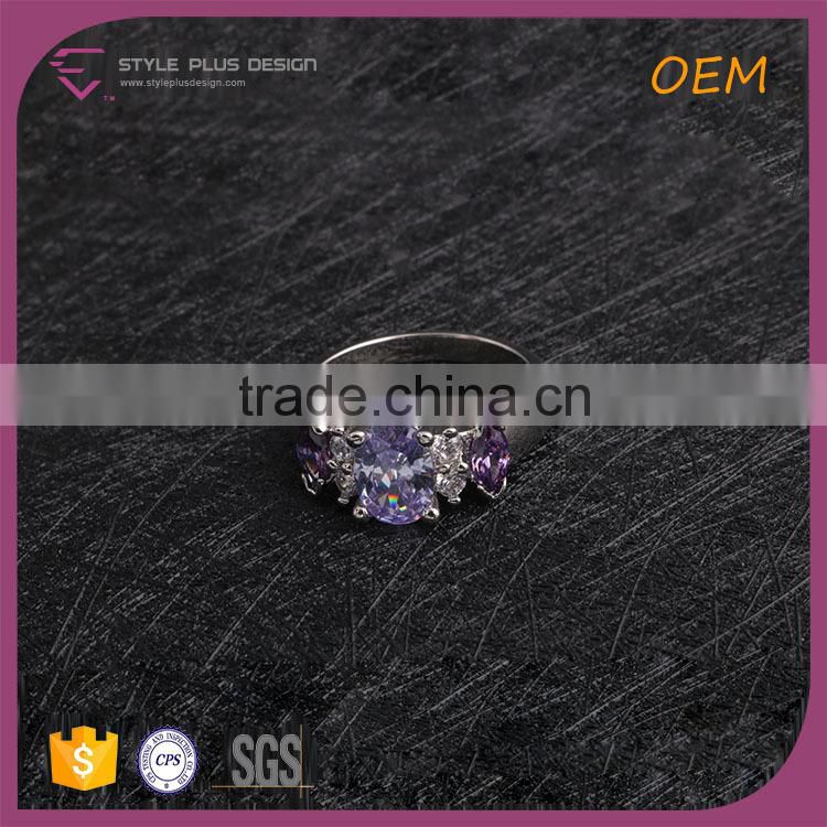 R63487K01 Best selling silver plated delicate ring embellished with 925 silver ring with purple stonezircon ring