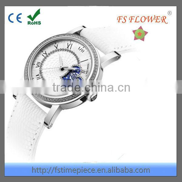 FS FLOWER - Very Nice Girl's Luxury Mechanical Watch White Leather Band