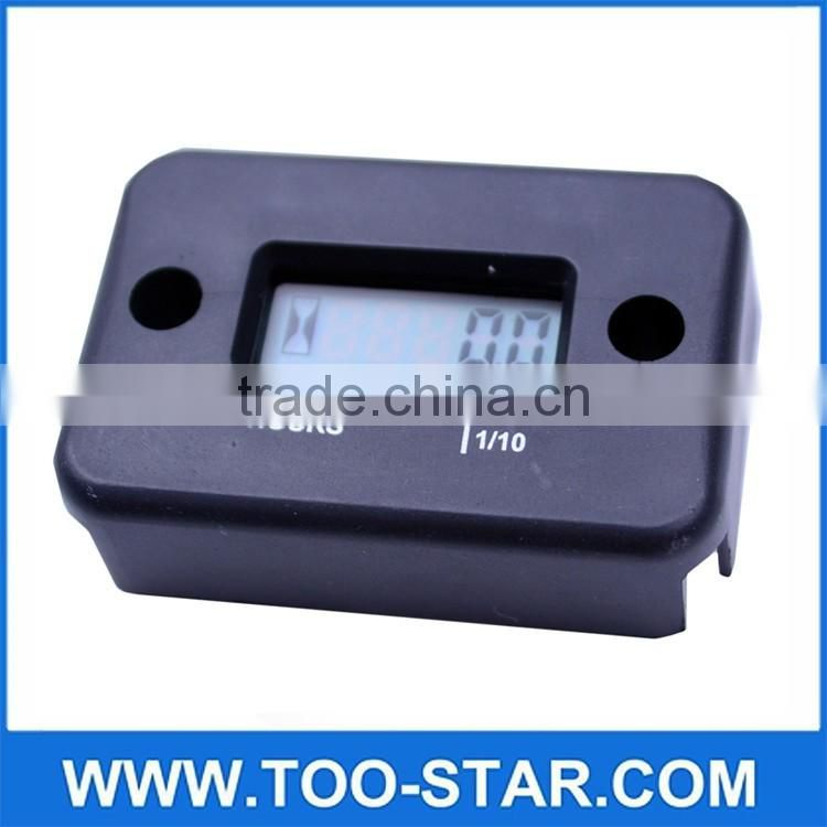 Black Digital LCD Engine Hour Meter Tachometer for Motorcycle ATVs