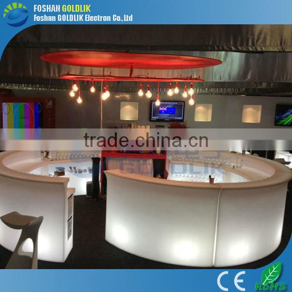 Computer Control Low Cocktail Bar Counter Glowing LED Bar Table with Stool