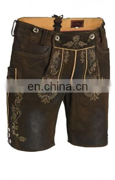 German-Bavarian-Oktoberfest-Trachten-Short-Length-Lederhosen-Men's Leather Shorts Dark Brown