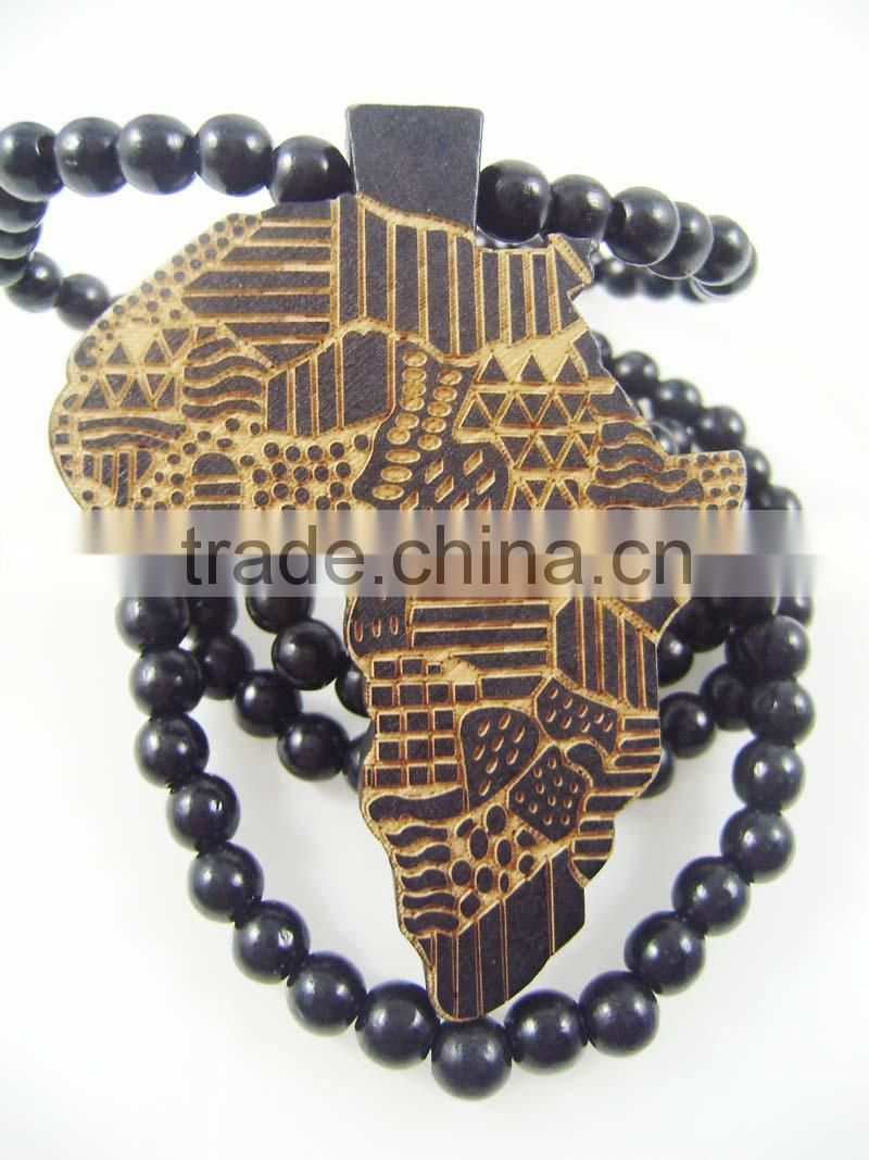 Men's Africa good Pendants Fashion Wood Hip Hop Rosary Chain Beads Necklaces GW9
