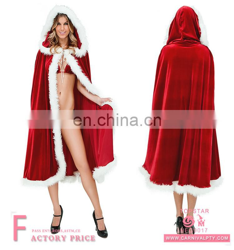 2017 New Design Promotional Christmas Santa Cape Cloak Luxury Prom Sexy Costume For Women