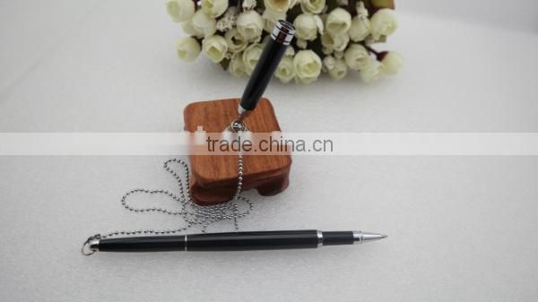 wooden holder desk pen with chain