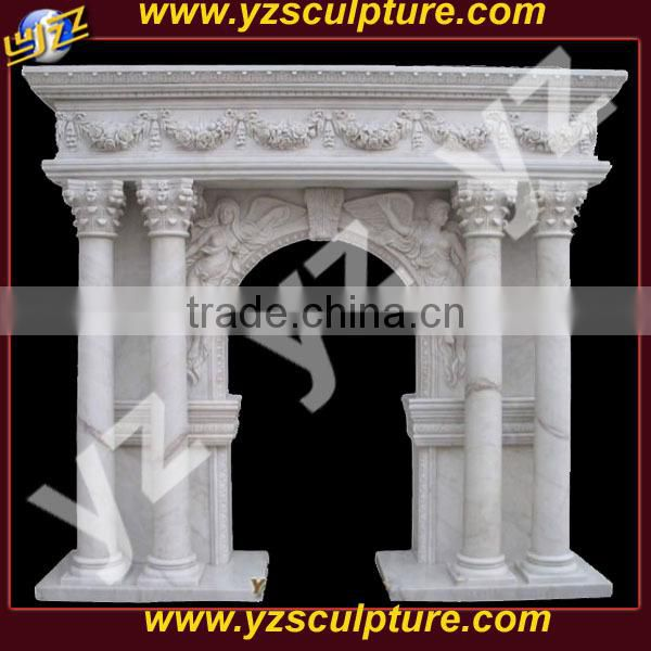 carved angel white marble fireplace for sale