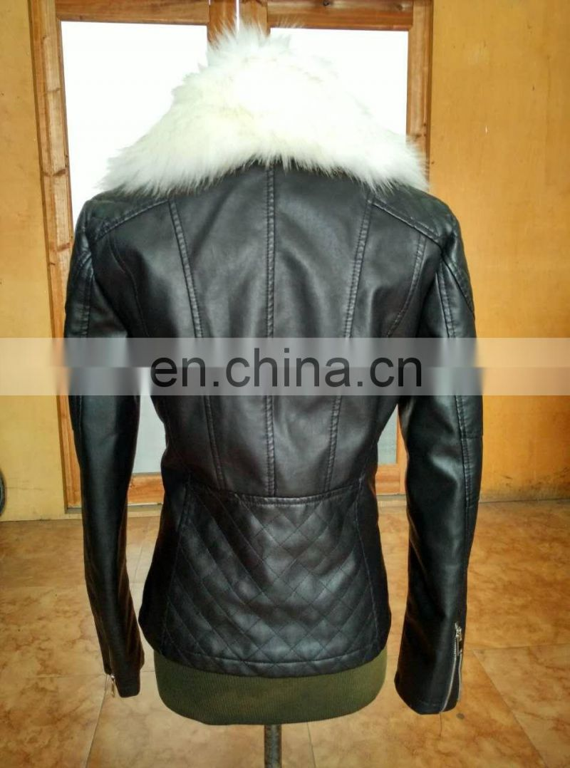 New Women Fashion Biker Motorcycle PU Soft Leather Zipper Jacket PU Faux Leather Jacket Winter Jacket with detachabl Fur Collar