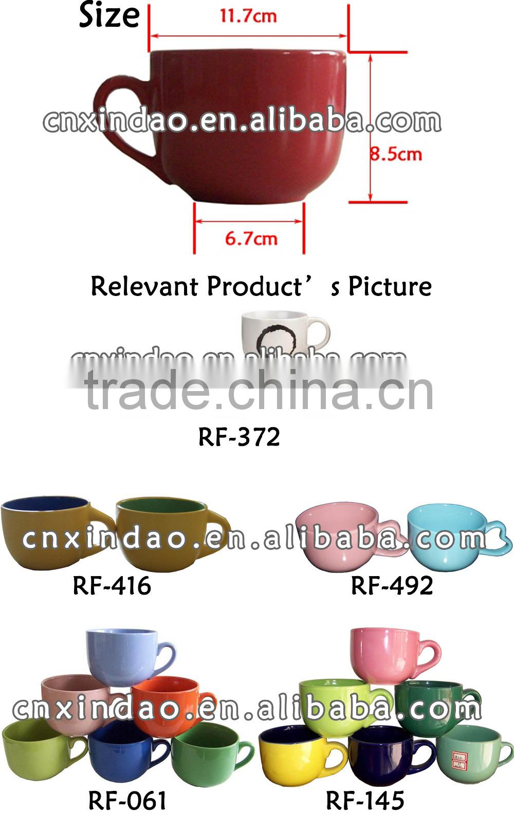 Belly Shape Glazed Stoneware Cup Customized for Promotional Coffee Cup Made in Zibo