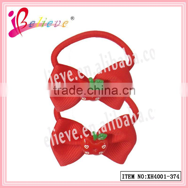 Little girls hair accessories friendly material ribbon bow elastic band lovely apple ponyholder (XH4001-374)