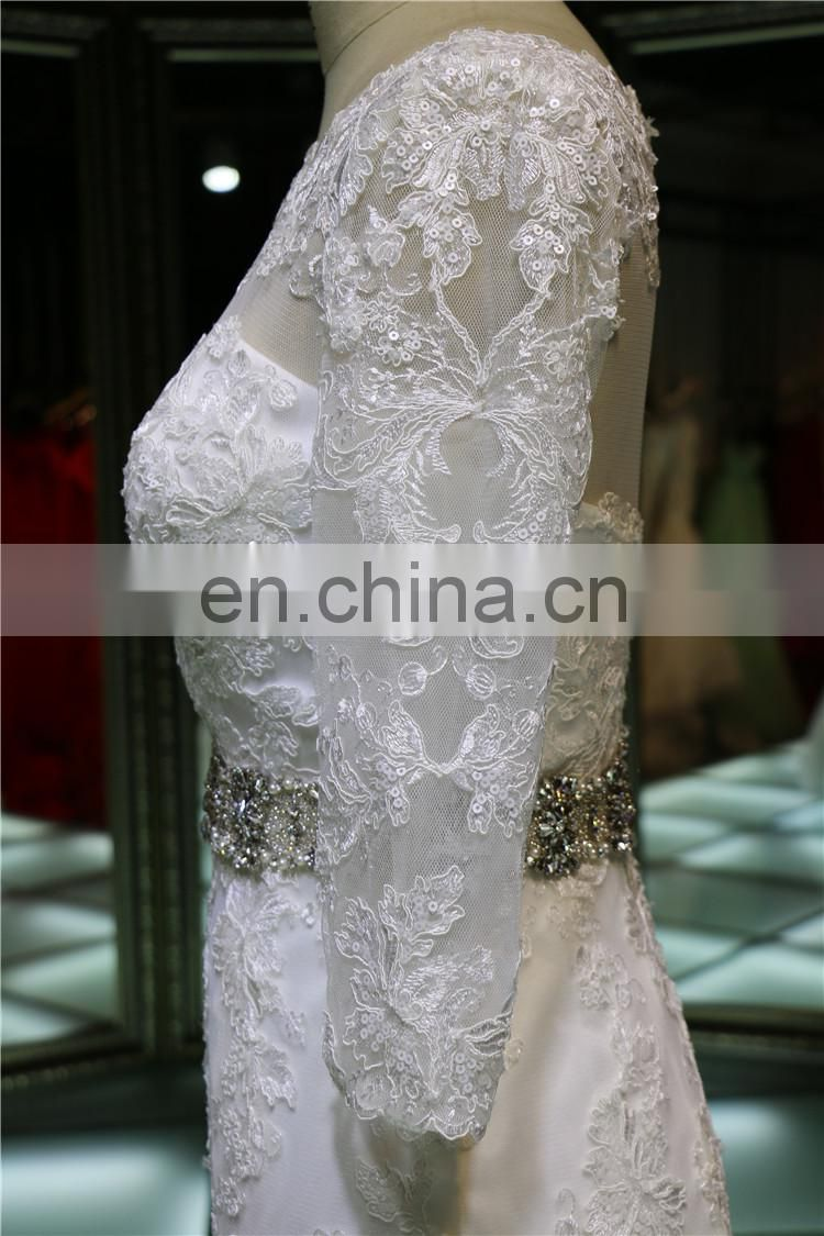 Long Sleeves illusion Neckline Lace Fit and Flare Wedding Dress