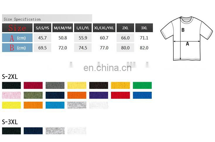 100% cotton Big EU/US Size t shirt wholesale china