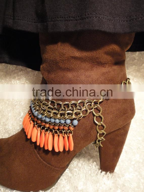 Country SWAGGER! Orange and turquoise beads with antique gold chain to turn your plain boots into exciting boots! Boot jewelry