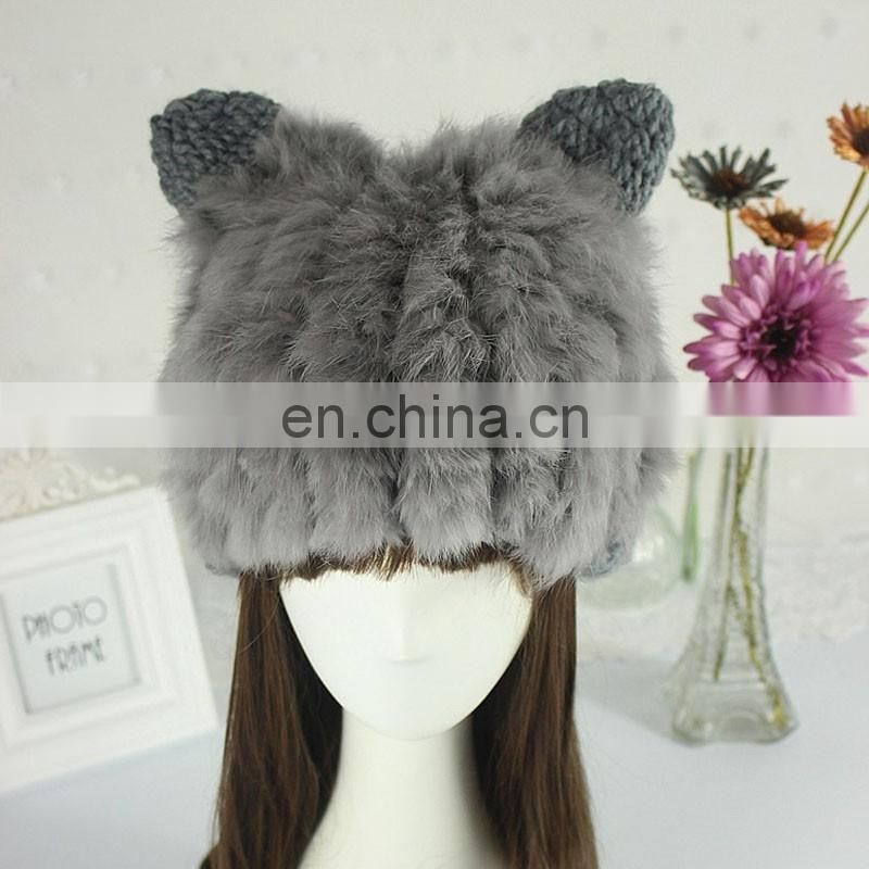 Grey color real rabbit fur winter beanies for women fashion wholesale
