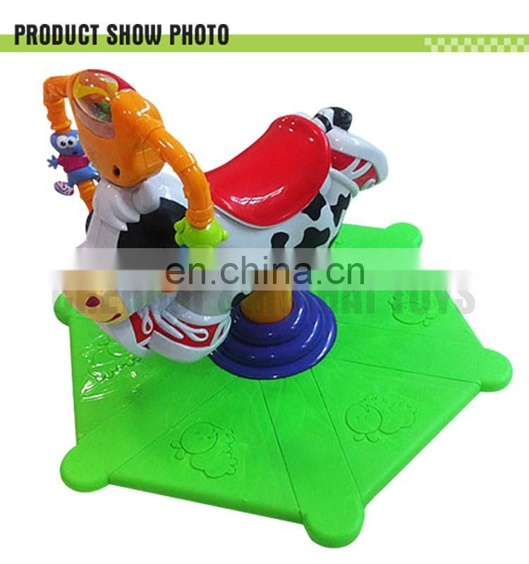 Plastic musical rocking cow with light ride on animal toy