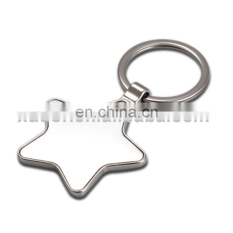 Promotional custom metal silver plated five-point star shaped keychain