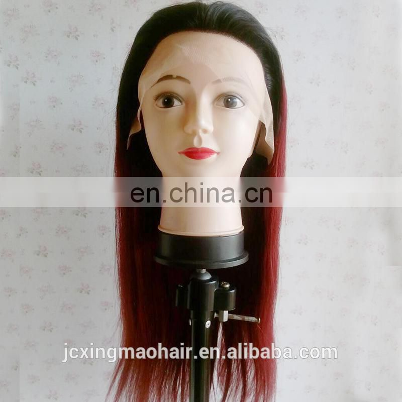 China Wholesale Cheap Straight Ombre #1B/99J Brazilian Human Hair Lace Front Wig