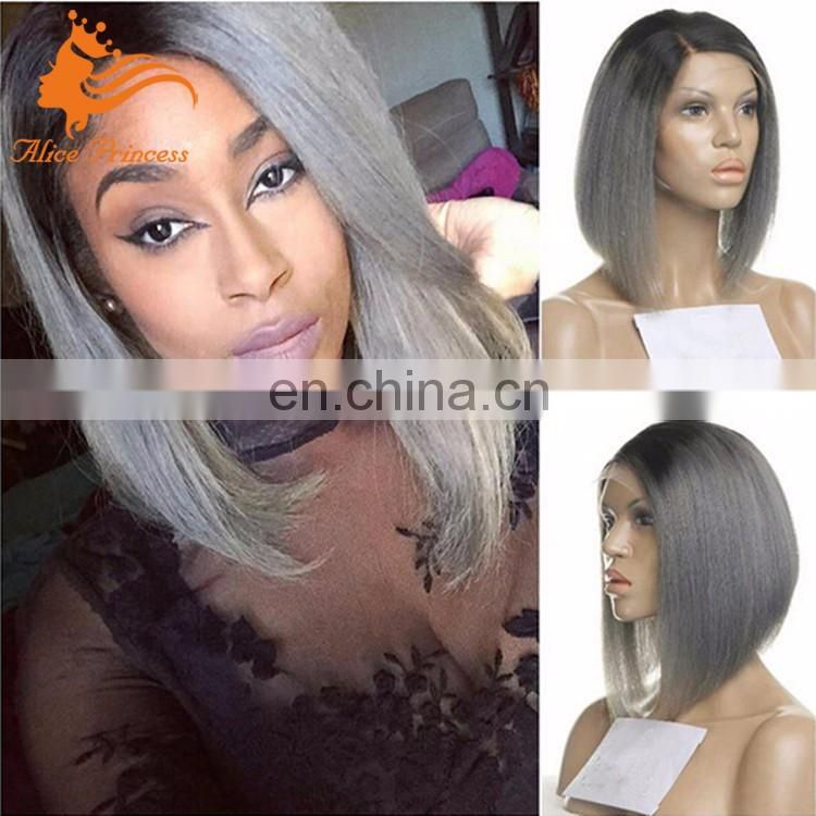 Best Quality Ideal Style 7A Grade Virgin Hair Grey Human Hair Lace Front Wig