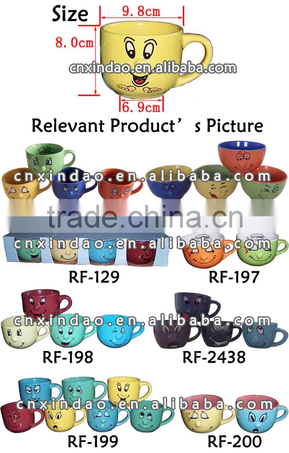 Beautiful Colored Porcelain Promotion Nose Mug for Kids Modern Soup Mug