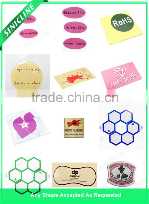 Sinicline Cheap price self adhesive glossy chrome PET logo label, waterproof chrome vinyl adhesive sticker/label