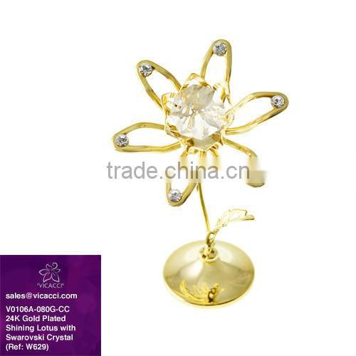 24K Gold Plated Metal Shining Lotus Flower with Crystals from Swarovski