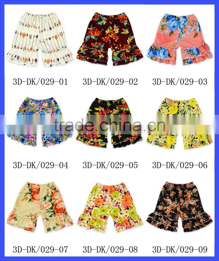 Wholesale Children's Boutique Clothing Blue Soft Summer Baby Girls Ruffle Shorts