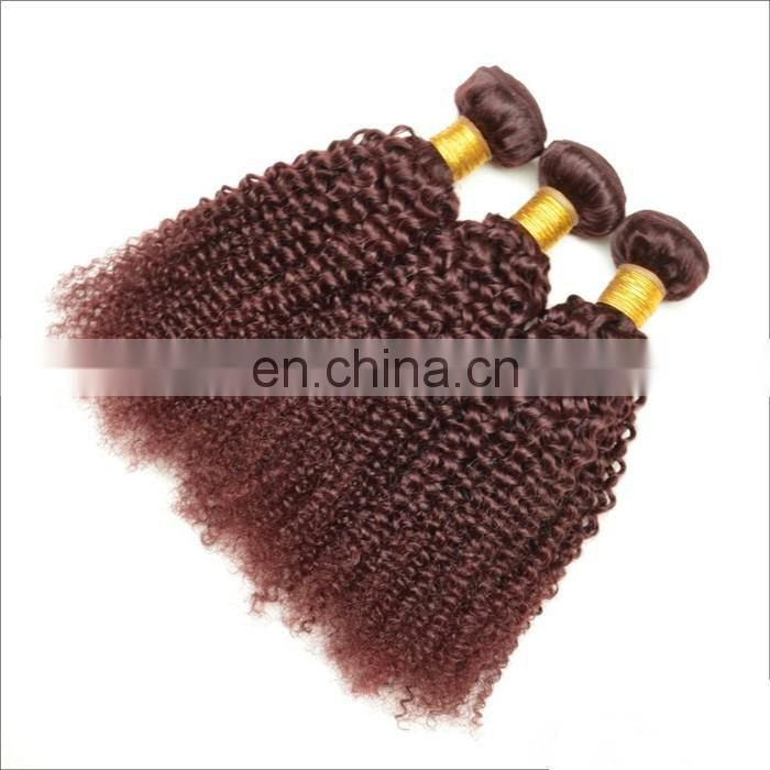 2017 hot sale kinky curly hair extensions color 99J# indian hair 100% real human hair for black women