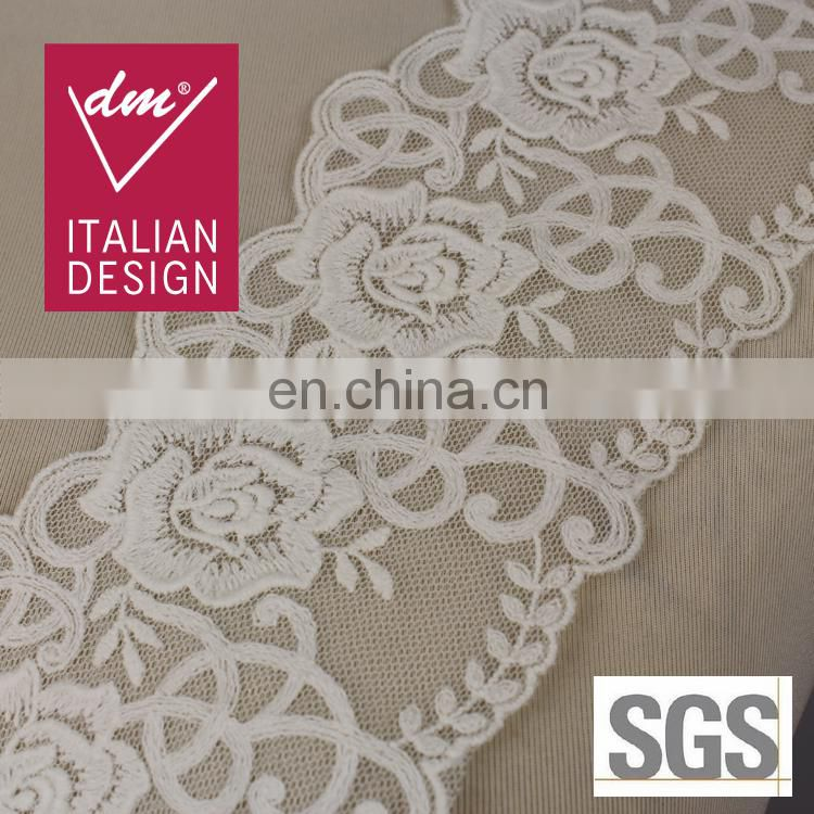 Fashion and fancy white flower swiss voile lace for girl dress ETR1665