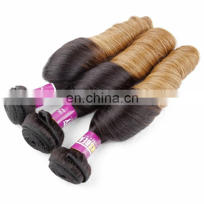 Hot sale brazilian hair weaving two tone spring curl hair extensions real human hair no mixed