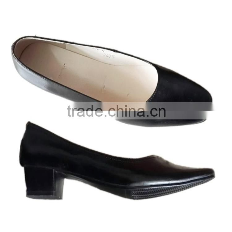 Low-heel high gloss black leather military officer women's pump shoes/ladies office wear shoes