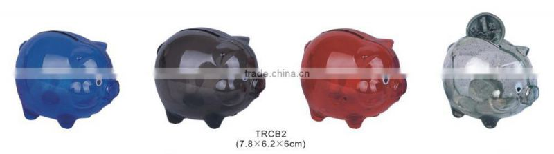 Colorful Clear Glass Chubby Pig Piggy Bank Saving Money Coin Box gift for Kids