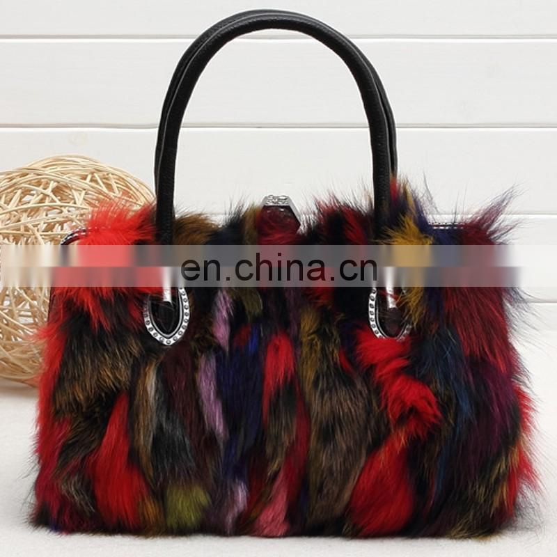 Colorful fox fur bag for lady 2017 new fashion girl tote bag handbag