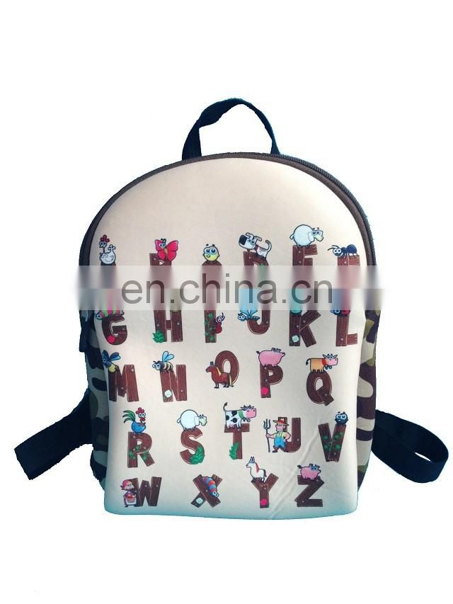 Fashion style neoprene material shool bag for teenagers