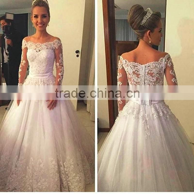 Vestidos De Noiva Lace Wedding Dresses 2016 Boat Neck Long Sleeve Appliques Ribbons Ball Gown Bridal Dress CWFW2385